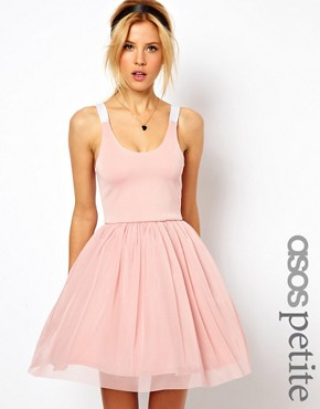 Image 1 ofASOS PETITE Exclusive Strappy Back Tutu Dress