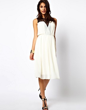 Image 1 ofTFNC Midi Dress with Lace Insert Gathered Waist