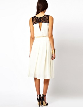 Image 2 ofTFNC Midi Dress with Lace Insert Gathered Waist