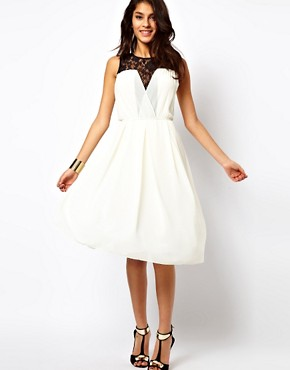 Image 4 ofTFNC Midi Dress with Lace Insert Gathered Waist