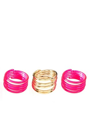 Image 1 of ASOS Neon Pack of Three Coil Rings