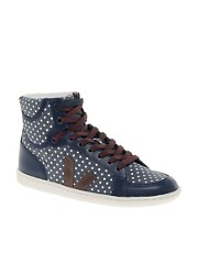 Veja x Domino SPMA Polka Dot Blue High Top Trainers