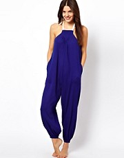 ASOS Contrast Halter Cheesecloth Beach Jumpsuit