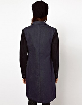 Image 2 ofASOS Denim Coat with Contrast Sleeves