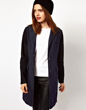 Image 1 ofASOS Denim Coat with Contrast Sleeves