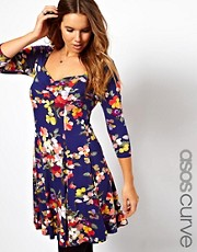 ASOS CURVE Skater Dress in Sweet Floral