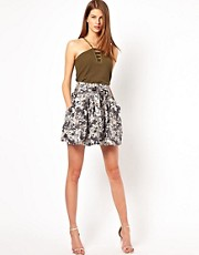 Edun Circle Skirt in Cross Hatch Camo Print