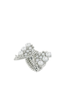 Image 1 ofLipsy Pearl And Crystal Bow Ring