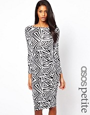 ASOS PETITE Exclusive Mono Body-Conscious Dress In ZigZag Mono Print