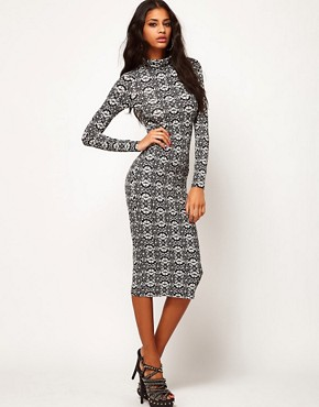 Image 1 ofASOS Midi Dress with Polo Neck in Ornate Print