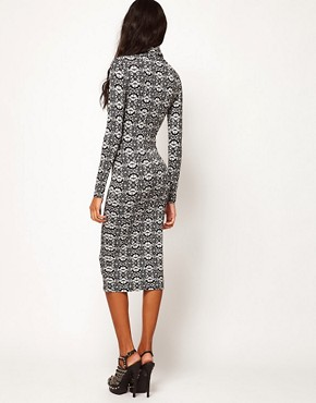 Image 2 ofASOS Midi Dress with Polo Neck in Ornate Print