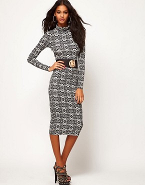 Image 4 ofASOS Midi Dress with Polo Neck in Ornate Print