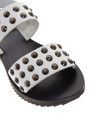Image 4 ofASOS FIGHTER Leather Studded Flat Sandals
