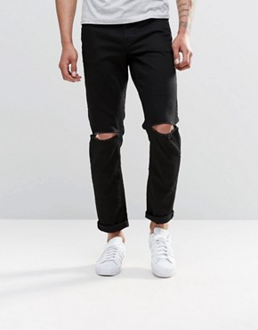 ASOS Stretch Slim Jeans With Knee Rips In Black