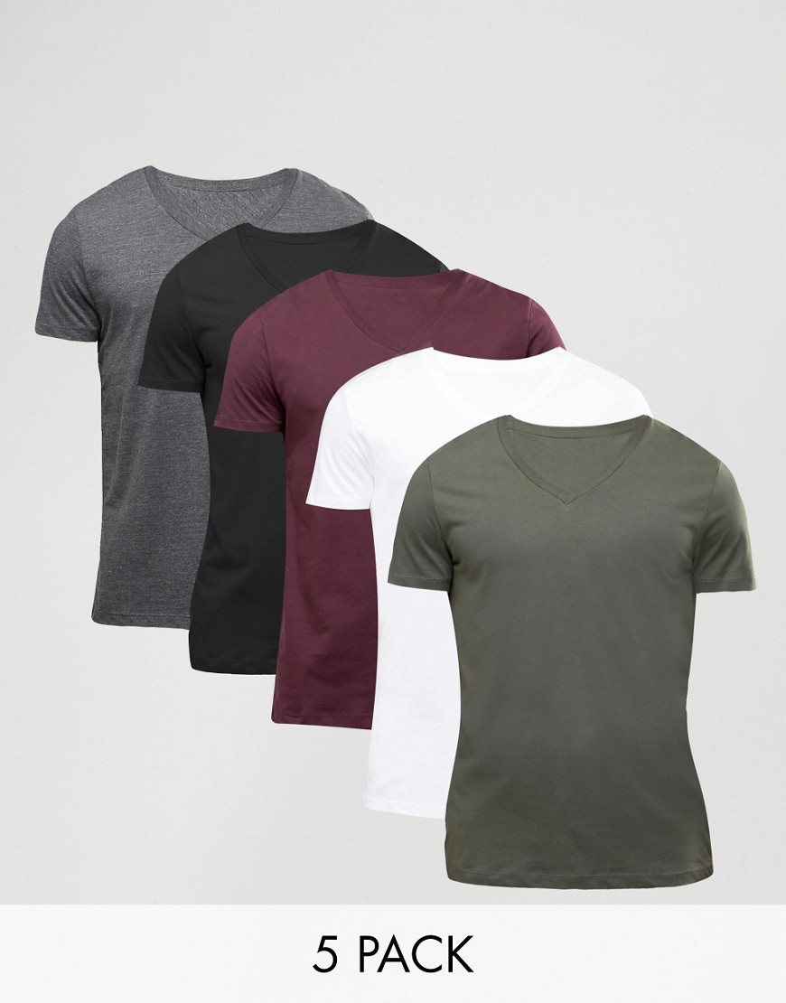 ASOS 5 Pack T-Shirt With V Neck - Multi