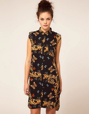 Image 1 ofRiver Island Butterfly Shirt Dress