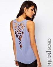 ASOS PETITE Exclusive Vest With Lasercut Back And Dip Hem