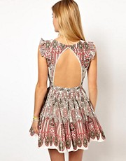 Pepe Jeans Printed Open Back Dress