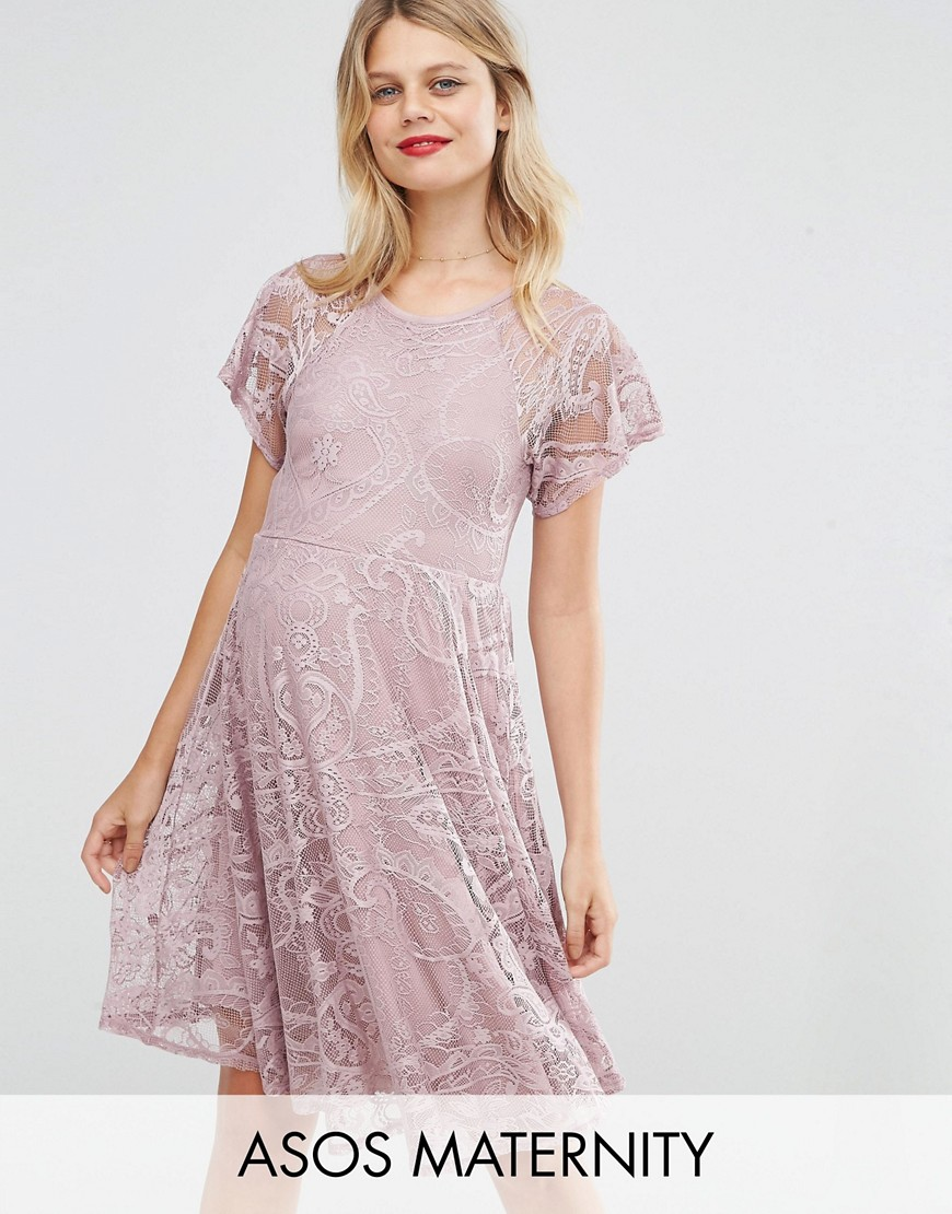 Vintage Style Maternity Clothes ASOS Maternity Flutter Sleeve Lace Skater Dress - Pink $15.00 AT vintagedancer.com