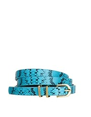 ASOS Metal Keeper Super Skinny Waist Belt In Snake Print
