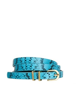Image 1 ofASOS Metal Keeper Super Skinny Waist Belt In Snake Print