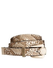 Karen Millen Metallic Python Print Leather Belt