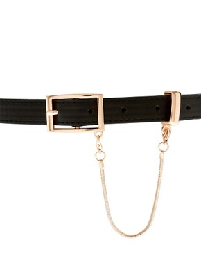Image 3 ofASOS Plate Detail Skinny Waist Belt