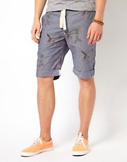Minimum &ndash; Chambray-Shorts mit Druckmuster