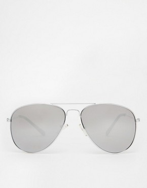 Image 2 ofASOS Silver Aviator Sunglasses with Mirrored Lens