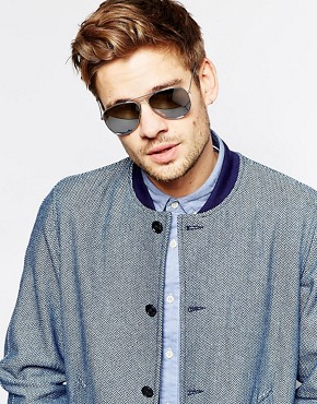 Image 3 ofASOS Silver Aviator Sunglasses with Mirrored Lens