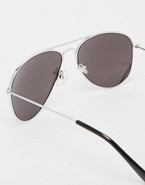 Image 4 ofASOS Silver Aviator Sunglasses with Mirrored Lens