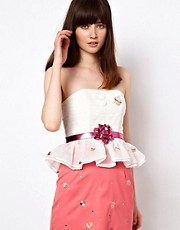 Nishe Peplum Bustier With Cupcake Embroidery