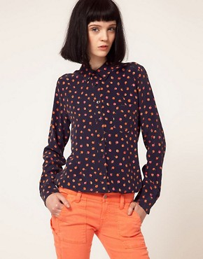 Image 1 ofEquipment Brett Silk Shirt in Cherry Print