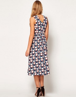 Image 2 ofASOS Midi Dress In Tile Print With Cross Over Bodice