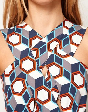 Image 3 ofASOS Midi Dress In Tile Print With Cross Over Bodice