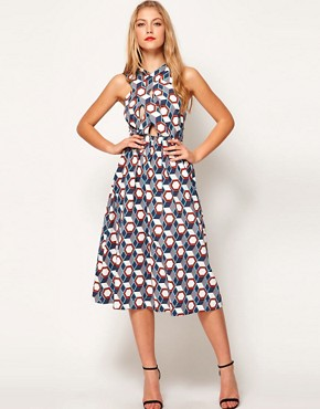 Image 4 ofASOS Midi Dress In Tile Print With Cross Over Bodice