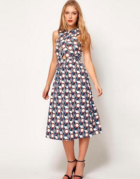 Image 1 ofASOS Midi Dress In Tile Print With Cross Over Bodice