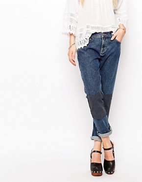 Mih Jeans Tomboy Boyfriend Jeans With Patchwork Knees