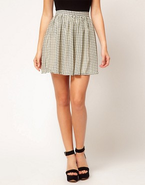 Image 4 ofGlamorous Checked Skater Skirt