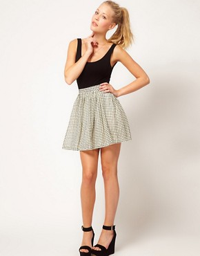 Image 1 ofGlamorous Checked Skater Skirt