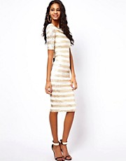 ASOS Midi Lace Bodycon With Gold Stripe