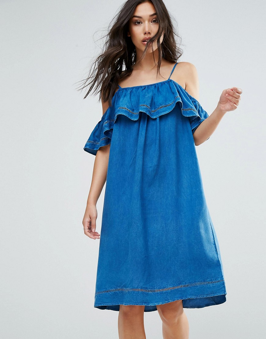 QED London Denim Dress With Ruffle