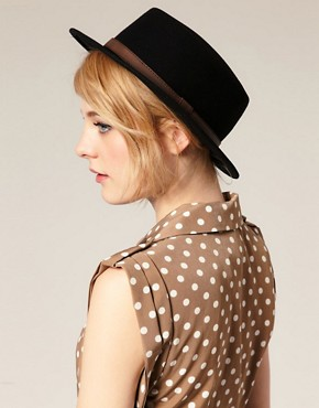 Image 1 ofASOS Felt Boater Hat With Leather-Look Trim