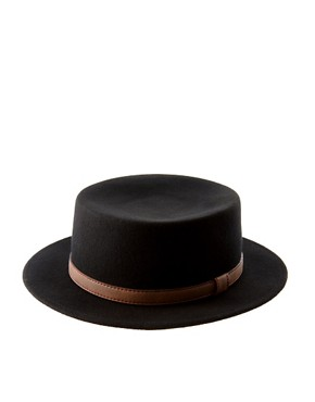 Image 2 ofASOS Felt Boater Hat With Leather-Look Trim