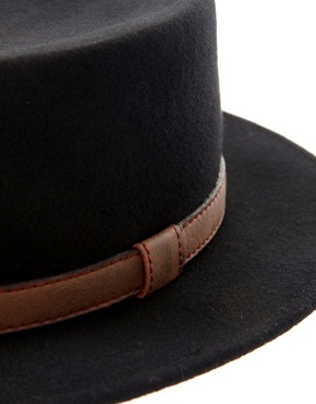 Image 3 ofASOS Felt Boater Hat With Leather-Look Trim