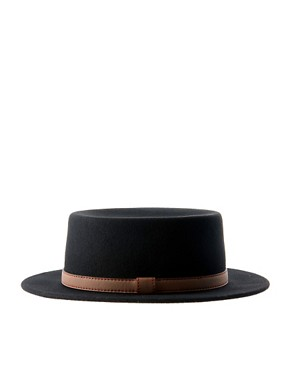 Image 4 ofASOS Felt Boater Hat With Leather-Look Trim