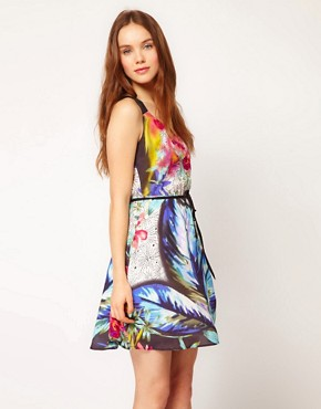 Image 1 ofWarehouse Tropical Dots Dress