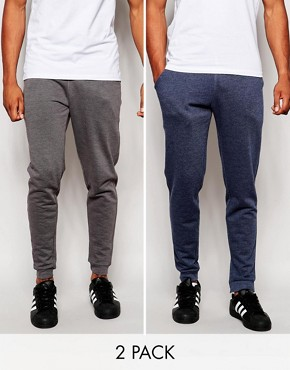 ASOS 2 Pack Skinny Joggers SAVE 17%