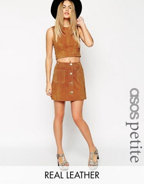 ASOS PETITE Button Through A-Line Suede Skirt
