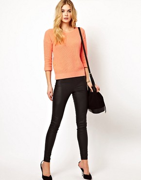 Image 1 ofVila Leather Look Skinny Trouser
